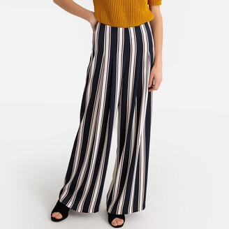 """La Redoute Collections Striped Loose Fit Trousers, Length 30.5"""""""