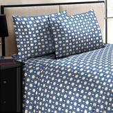 Home Dynamix Jill Morgan Fashion Printed Square Navy Blue Microfiber Twin Sheet Set (3-Piece)