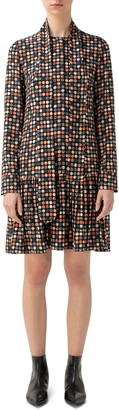 Akris Punto Wood Block Dot Long Sleeve Silk Dress