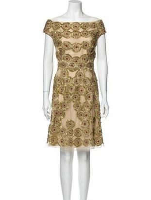 Naeem Khan Silk Mini Dress Gold