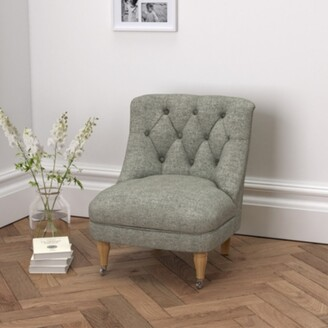 The White Company Richmond Tub Chair Tweed Dark Stained Beech Leg, Tweed Mid Grey, One Size