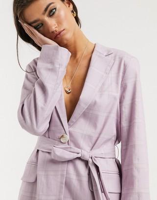Bershka tie-waist check blazer in lilac