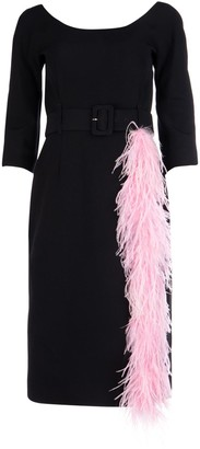 Prada Feather Trim Belted Dress