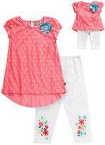 Dollie & Me Coral & White Sparkle Hi-Lo Top Set & Doll Outfit - Girls