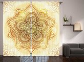 Mandala Curtains Decor Collection, Ethnic Doodle Design Asian Art Traditional Pattern, Window Treatments, Living Kids Girls Room 2 Panels Set, 108 X 84 Inches, Beige Cream Brown