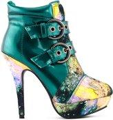 Show Story Buckle Night Sky High Heel Stiletto Platform Ankle Boots,LF30301DG41,10US