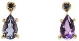 N+A New York Pear Amethyst and Sapphire Stud Earrings