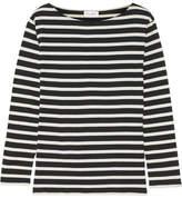 Saint Laurent Striped Cotton-jersey Top - Black