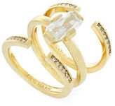 Cole Haan Cubic Zirconia Studded Baguette 12K Gold-Plated Ring- Set of 3