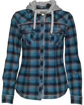 Converse Womens Tasha Pocket Checked Hooded Jacket Mykonos Blue