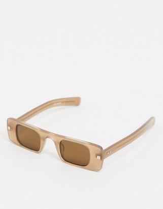 Spitfire Cut Seven slim square sunglasses in nude