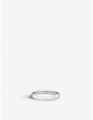 De Beers Women's Platinum Wide Court And Diamond Wedding Band, Size: 48mm