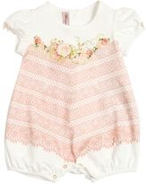 Miss Blumarine Lace Printed Cotton Jersey Romper