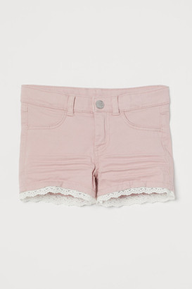 H&M Lace-trimmed Twill Shorts - Pink