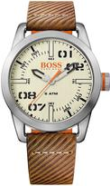 hugo boss watches jewellery for men shopstyle uk hugo boss oslo casual cream dial brown strap mens watch