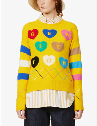 Benetton Heart intarsia knitted jumper