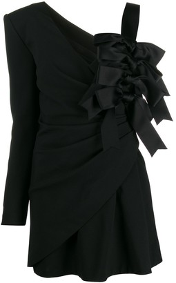Saint Laurent One-Shoulder Bow Mini Dress