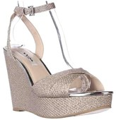 Nina Gianina Wedge Platform Evening Sandals, Silver Diamond.