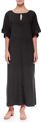 Joan Vass Petite Keyhole-Front Long Dolman Dress
