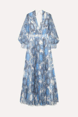 Alice + Olivia Alice Olivia - Cheney Cutout Floral-print Georgette Maxi Dress - Blue