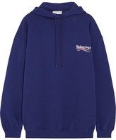 Balenciaga Oversized Printed Cotton-jersey Hooded Top - Royal blue