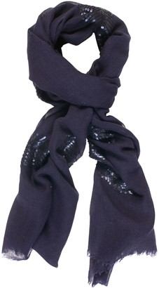 Chesca Melange Sequin Wool Rich Fern Leaf Scarf