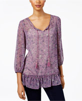Style&Co. Style & Co Floral-Print Ruffle-Hem Top, Only at Macy's