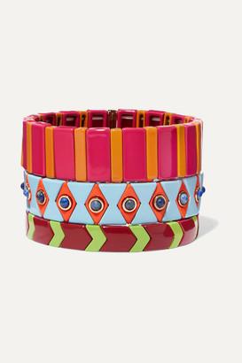 Roxanne Assoulin Drawing Room Set Of Three Enamel Bracelets