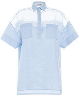 Valentino Cotton Organza Short Sleeve Oversized Blouse With Patch Pockets