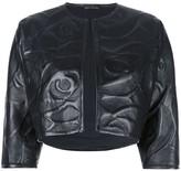Josie Natori embossed leather bolero