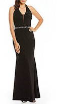 JS Collections Crepe Deep V-Neck Beaded Gown