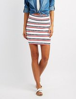 Charlotte Russe Striped Bodycon Mini Skirt