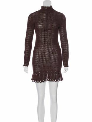 Prada Knit Mini Dress Brown