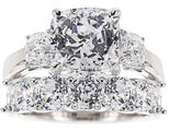 JCPenney FINE JEWELRY 100 Facets by DiamonArt Sterling Silver Cubic Zirconia Bridal Set