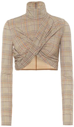 Burberry Checked turtleneck cropped top