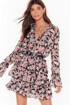 Nasty Gal Womens The Heat Grows On Floral Ruffle Mini Dress - black - L, Black