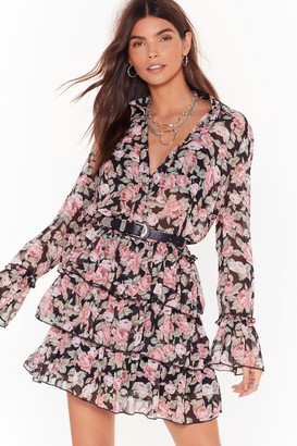Nasty Gal Womens The Heat Grows On Floral Ruffle Mini Dress - Black