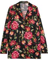 Dolce & Gabbana Floral-print Silk-twill Shirt - Pink