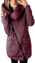 Suvotimo Women Plus Size Casual Zip Up Fleece Outwear Jackets Coats Parkas With Pockets XXL