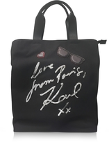 Karl Lagerfeld K/Paris Black Canvas Tote Bag