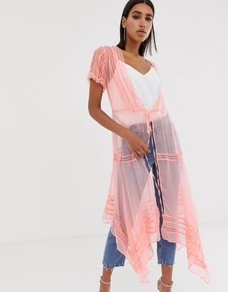 Nfc NFC lace wrap maxi kimono