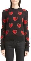 Saint Laurent Women's Heart Jacquard Mohair Blend Sweater