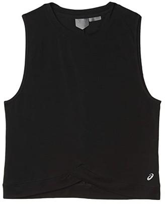 Asics Front Fold Tank (Performance Black) Women's Clothing