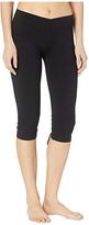 Hard Tail Crossover Waist Back Laced Capris (Black) Women's Casual Pants