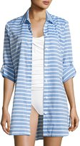Tommy Bahama Breton Stripe Boyfriend Beach Shirt, Blue