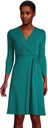 Lands' End Women's Knot Front Faux-Wrap Dress