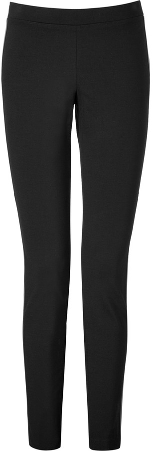 DKNY Pants with Leather Trim in Black