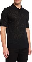 Versace Men's Baroque Tonal Jacquard Knit Polo Shirt