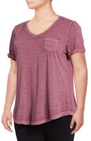Style And Co. Plus Burnout V-Neck Pocket T-Shirt