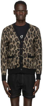 Second/Layer Brown and Black Mohair Leopard Cardigan
